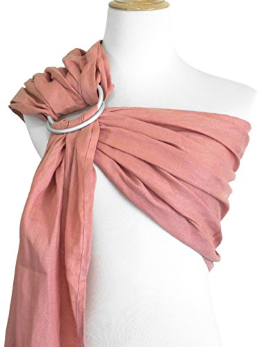 Vlokup Ring Sling Baby Carrier Wrap   Luxury Linen and Cotton Baby Slings for Newborn, Infant, Toddlers, and Kids   Adjustable Metal Aluminum Rings, Lightweight Breathable, Great Shower Gift, Pink