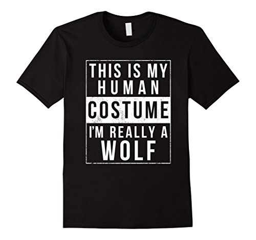 Halloween Wolf Costume Kids (Mens Wolf Halloween Costume Shirt Funny Easy for Kids Men Women Small Black)