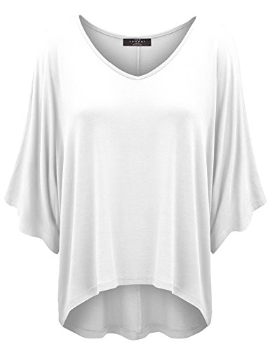 WT1106 Womens V Neck Square Sleeves Oversized Loose Fit Top L White
