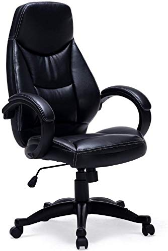 Executive Office Chair High Back Thick Padding Home Office Chair Height Adjustable with (Black) by ORVEAY