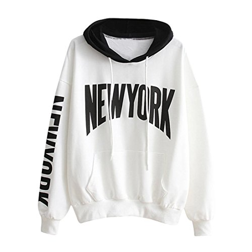 ec36a8dcc9d44 YANG-YI Womens Long Sleeve Letter Print Hoodie Sweatshirt Hooded Pullover  Tops Casual Blouse (S