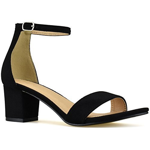 Premier Standard - Women's Strappy Chunky Block Low Heel - Formal, Wedding, Party Simple Classic Pump, TPS Heels-80Naej Black Su Size 7.5