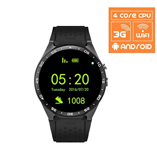 (FKYHU Smart Watch AMOLED Touch Screen 3G WiFi GPS Pedometer Bluetooth Android 2019 Trendy Smart Watch Wristwatches Reloj Inteligente (Color : Black))