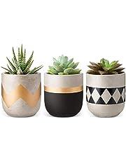Mkouo 10 cm cement vetplanten moderne bloempotten mini planten binnen voor cactus kruiden of kleine planten, set van 3