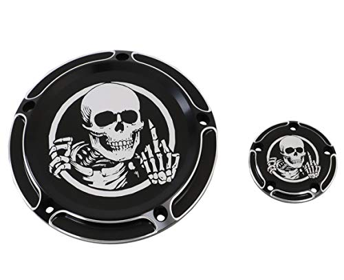 Black Skull Edge Deep Cut 5-Hole Derby Timer Cover for 1999-2014 Harley Twin Cam Touring Road King Electra Glide FLHR FLHX FXST -
