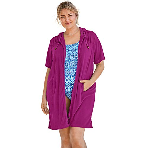 Swimsuits For All Women's Plus Size Hooded Terry Swim Cover Up - Bright Fuchsia, - Cover Swim Terry