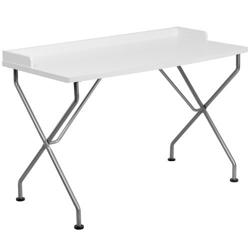 White Computer Desk with Silver Frame by Allen South
