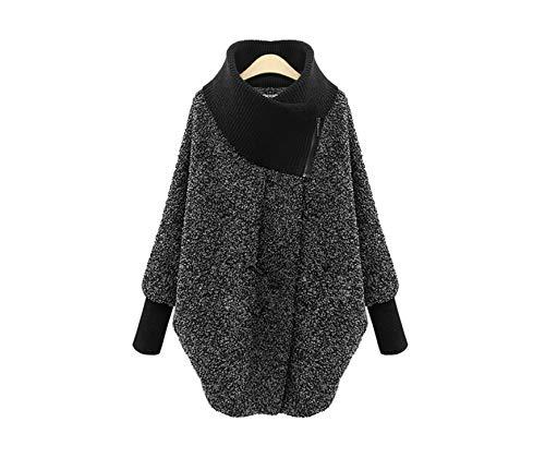 - White Island Knitted Turtleneck Large Size Autumn-Winter Woolen Coat Women Woolen Thick Cashmere Manteau Hiver,Gray,XL