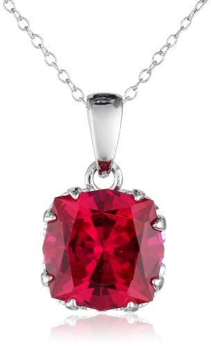"""Created Ruby Jubilee Cut Pendant Necklace with Crown Setting in Sterling Silver (10mm), 18"""""""