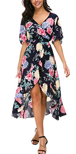 KorMei Womens Short Sleeve Floral High Low V-Neck Flowy Party Long Maxi Dress M Blue ()