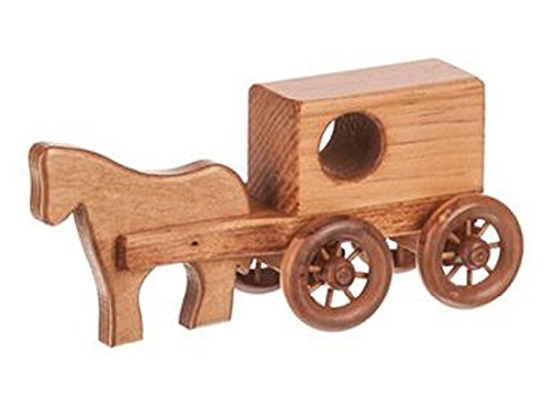 Clip Clop Toy Horse and Buggy Amish Handmade in The USA, Natural