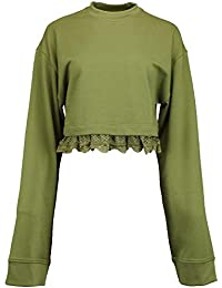 Womens Lace-Trim Long Sleeves Crop Top