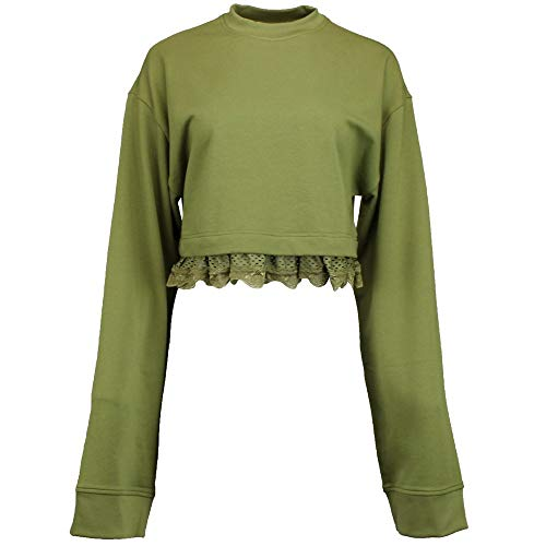 Crop Trimmed (PUMA Womens Lace-Trim Long Sleeves Crop Top Green S)
