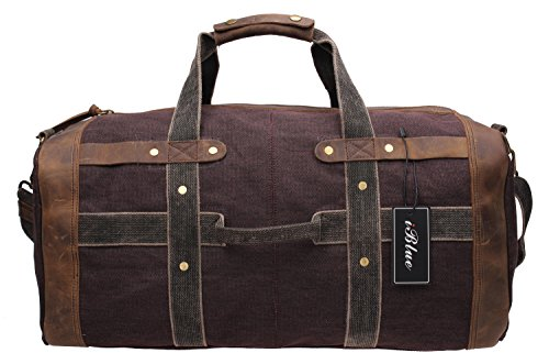 Iblue Shoulder Weekender Gym Totes Vintage Canvas Leather Trim Sports Duffel Bag Overnight Travel Duffel Bag B007