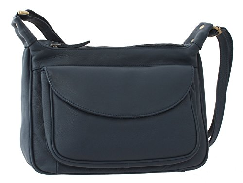 Bolla Bags Wimborne Collection Single Strap Leather Shoulder Bag PILFORD Black Navy