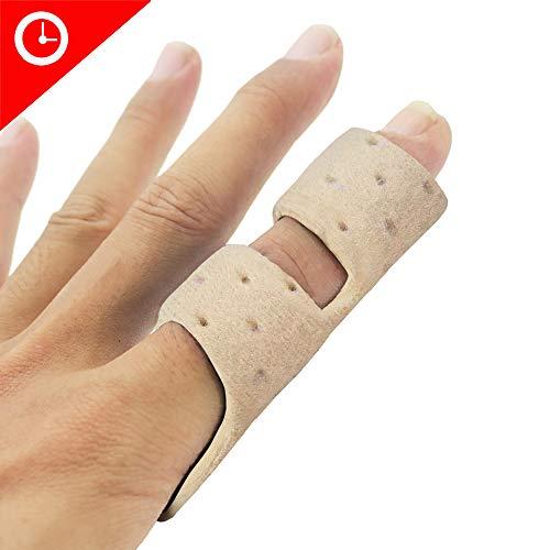 Finger Brace Splint, Luniquz Finger Splint with Rigid Support to Immobilize Finger Joint & Relieve Pain for Trigger Finger,Arthritis, L/Beige
