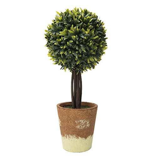 "Evergreen Topiary (RUOPEI Artificial Boxwood Topiary Ball Tree in Planter – 16.5"" Realistic Fake Plastic Greenery Plant for Home Shelving, Office Desks, Event Tabletop, Counter Top Decor)"