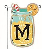 Home Garden Flags Monogram Lemonade Mason Jar Burlap Summer Garden Flag 12.5 x 18 (Letter M)