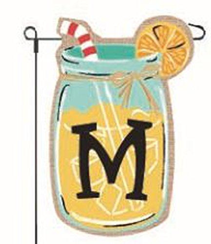 Home Garden Flags Monogram Lemonade Mason Jar Burlap Summer Garden Flag 12.5 x 18 (Letter M) (Garden Summer Flag)