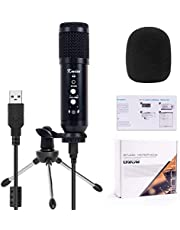 Kmise USB Condenser Microphone Mic Portable with USB Cable Tripod Stand for Chatting, Streaming, Broadcast, Podcast, Vocals, Games, Instrument Recording, Compatible with Laptop Mac/Windows and Mobile Phone (White Knob)