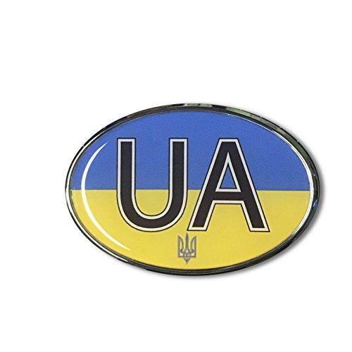 UKRAINE flag Emblem Proud Car OVAL Domed sticker 3D 3.25