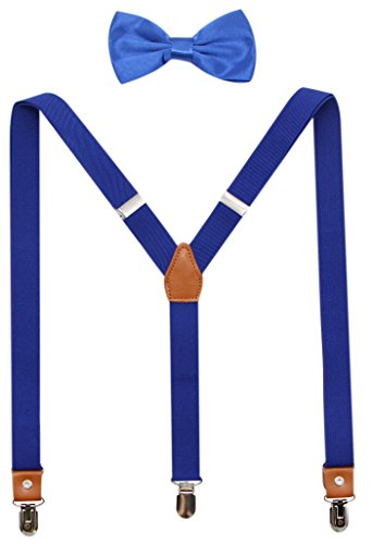 Suspenders And Pre-Tied Bowtie Set For Boys And Men By JAIFEI, Casual And Formal (Boys(33 Inches), Royal Blue)]()