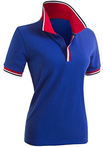 (CLOVERY Women's Comfortable Fabric Short Sleeve Polo Cobalt US XL + / Tag XXL)