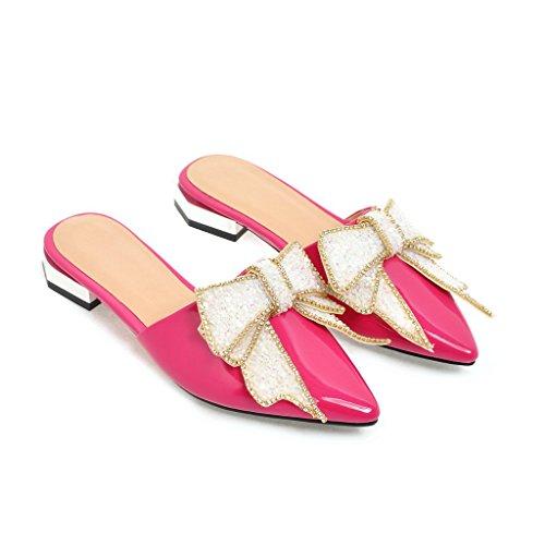 QIN&X La Mujer Sandalias de Tacón Plano Informal Peach Red