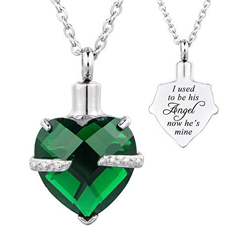 HOUSWEETY 12 Birthstone Crystal Urn Necklace Heart Memorial Keepsake Pendant Ash Holder Cremation Jewelry for Ashes-I Used to be his Angel Now He's Mine ()