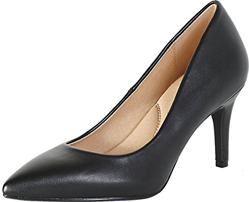 City Classified Soda Coen-2 Pointy Toe Pump, Black Faux Leather, 6 B(M) US ()