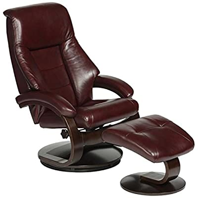 Mac Motion   58 Series Leather Recliner And Ottoman   Merlot/Alpine