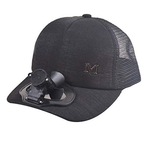 HYIRI England Summer Fan Cooling Baseball Cap Hat USB Charging Breathable Shade Sunscreen Hat Black