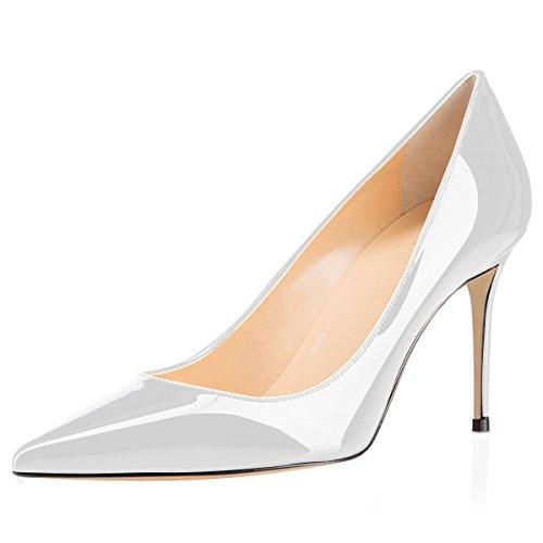 8cm Patent Pumps Dress High Patry Heel White Wedding for Pumps Comfort Women's Eldof Office wx7qnRtPYP