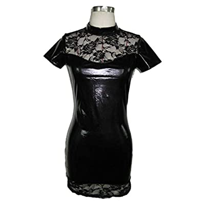 Paymenow Sexy Patent leather Lace Lingerie Elastic Free Size Mini Dress Clubwear Lingerie Dress