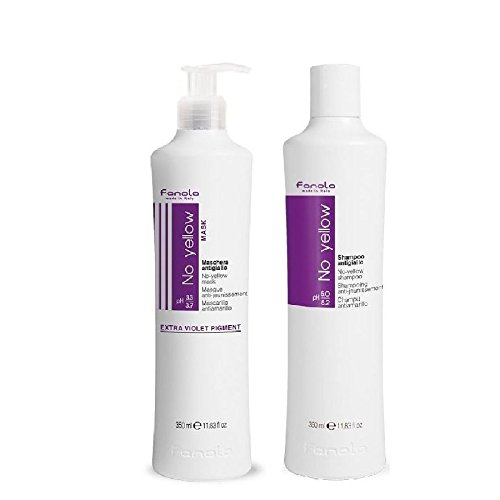 Fanola, set No Yellow shampoo + No Yellow Mask, biondo con mèches, grigio, anti giallo, 2 x 350ml biondo con mèches