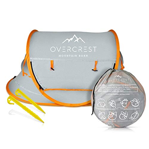 Overcrest Portable Beach Pop up Tent Babies, UPF 50+, Large Sun Shelter Infant Babies, Mosquito Net Sunshade, Lightweight Outdoor Travel Baby Crib Bed, Orange - Fabric Furniture Premium Protection Plan
