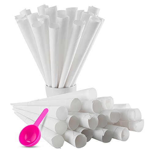 Cotton Candy Cones (100 Pack), White Plus Bonus Little Sugar scoop for easy Pouring