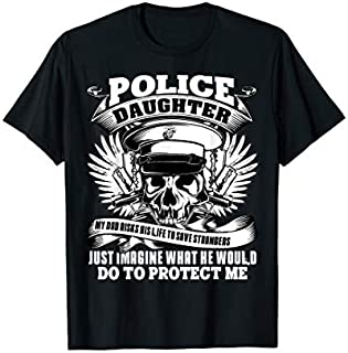 Cool gift I Am A Police Daughter , Police Dad  Women Long Sleeve Funny Shirt / Navy / S - 5XL