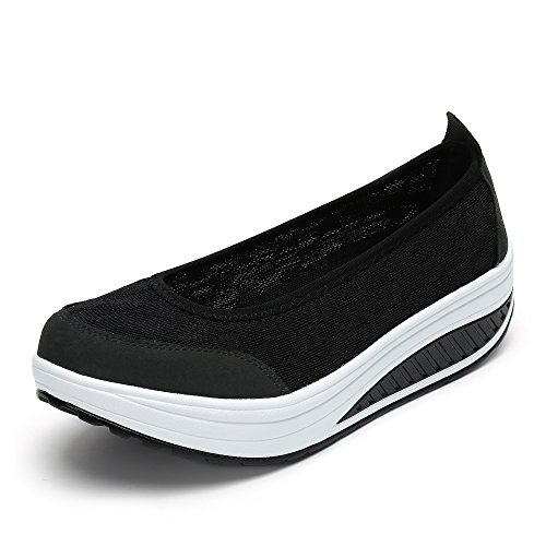 Saguaro Dames Zachte Toning Rocker Schoenen Womens Mesh Sport Tennisschoenen Slip Op Wiggen Platformschoenen Lichtgewicht Fitness Wandelschoenen C-zwart