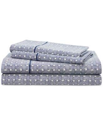 Ralph Lauren 4 Piece Spencer Basketweave Sheet Set Navy and White 100% Cptton