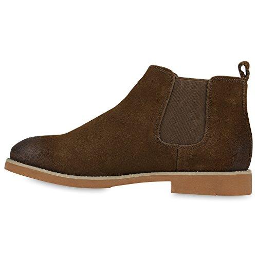 Stiefelparadies Damen Klassische Stiefeletten Leder Boots Zipper Schuhe Flandell Olive Basic
