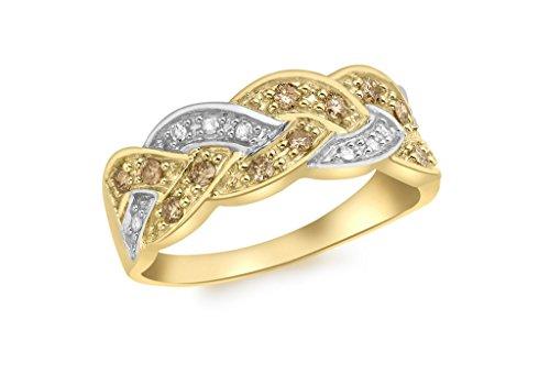 Diamant Or Plaqué Rhodium et or jaune 9carats avec diamant et Champagne