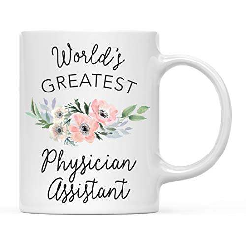 (Andaz Press 11oz. Coffee Mug Gift for Women, World's Greatest Physician Assistant Mug, Bohemian Pink Anemone Floral Flower, 1-Pack, Drinking Cup Birthday Christmas Promotion Graduation Gift for Her)