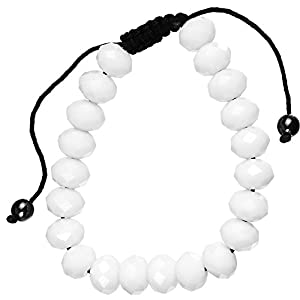 White Glass Beaded Shamballa Bracelet Unisex