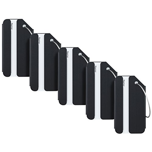 Travelambo Luggage Tags & Bag Tags Stainless Steel Aluminum Various Colors (black 5 pcs set)