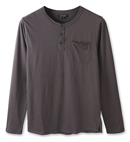 HETHCODE Men's Classic Comfort Soft Jersey Pocket Long Sleeve Henley T-Shirt Tee Charcoal XL