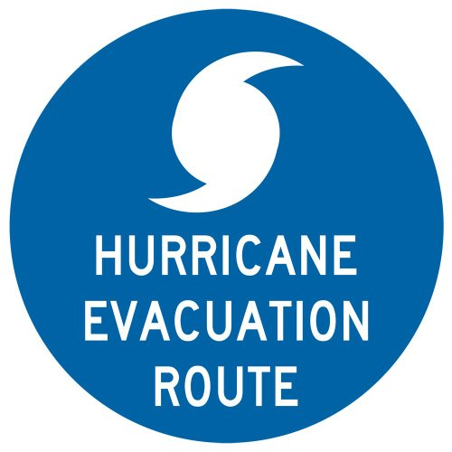 ComplianceSigns Reflective Vinyl Evacuation Route Label, 12 x 12 with English, Blue - Hurricane Evacuation Sign