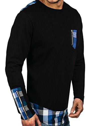 BOLF Hombre Sudadera Manga Larga Suéter Jersey Cuello Redondo Camuflaje 1A1 Motivo Negro-Azul
