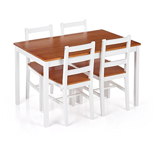 iKayaa Modern 5PCS Dining Table Set Pine Wood Kitchen Dinette Table with 4 Chairs (Set Pine Dining)
