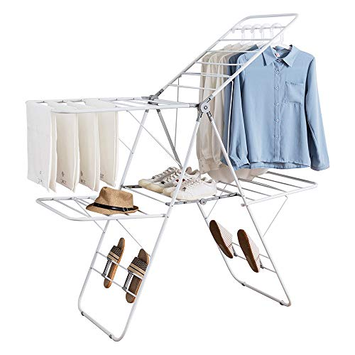 GFQTTY Clothes Drying Rack Foldable Laundry Airer,4 Dryer Clothes Hangers with Anti-Slip Protection Pad and Adjustable Strut, Easy Storag,No Installation Required